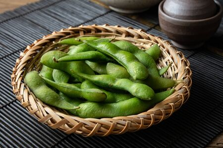 Edamame, a type of bean often eaten as an appetizer or snack in Japanese cuisine.