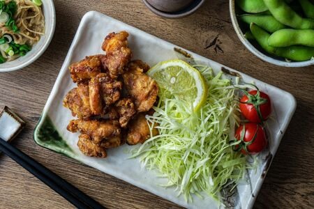 Karaage fried chicken, a popular fast food in Japan consisting of battered and deep fried chicken thighs.