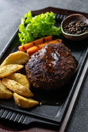 Japanese Hamburg Steak, a popular grilled meat patty served with potatoes, vegetables or rice. Reklamní fotografie