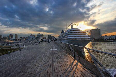 Big ship in Minato Mirai, Yokohama, Japan. Beautiful sunset over the skyline. Reklamní fotografie