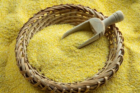 Corn flour or corn meal, a healthy powder used to make polenta and tortillas.