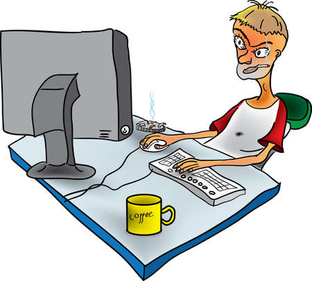 Russian designer at work in the office Stock Vector - 11007254