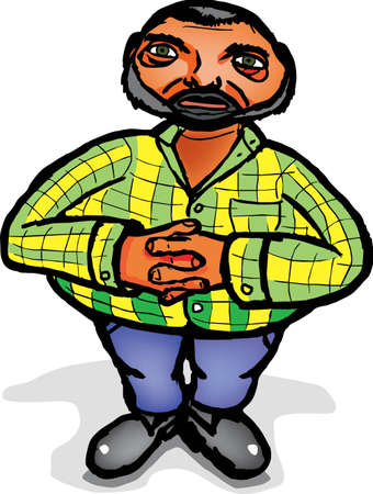 fat man with a beard in a striped shirt Vector