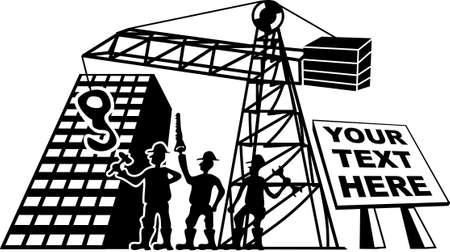 Drei Arbeiter auf einer Baustelle mit Werkzeugen in der Hand Vektorgrafik