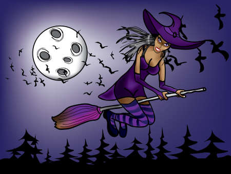 halloween witch flying at night on the background of moon Vector