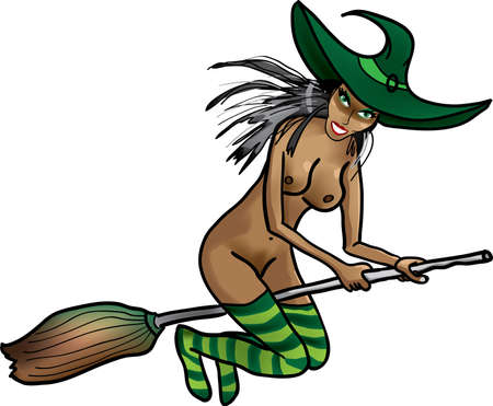 black breast: Naked witch on a broomstick Illustration