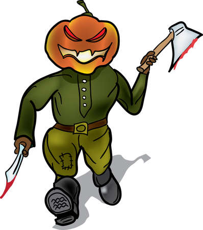 murderer: Pumpkin murderer escapes with a knife and a hatchet