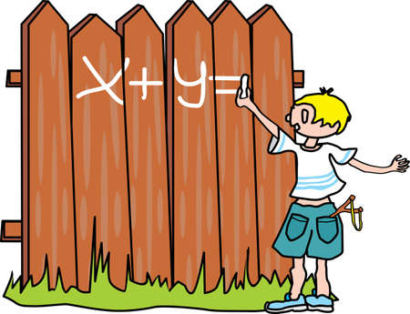 Bully-boy writes on the fence Stock Vector - 11083273