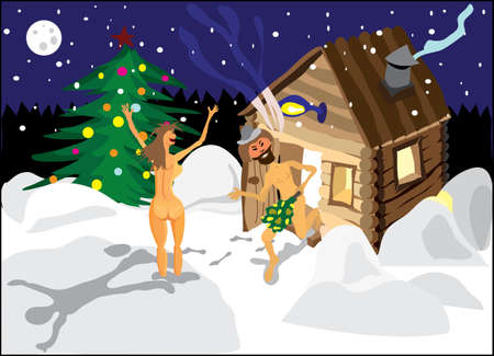 A man and a woman jumping in the snow from the sauna on Christmas night Vector