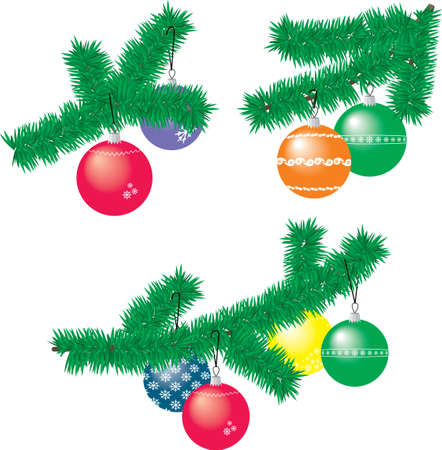 ollection: Сollection of Christmas fir branches with Christmas balls