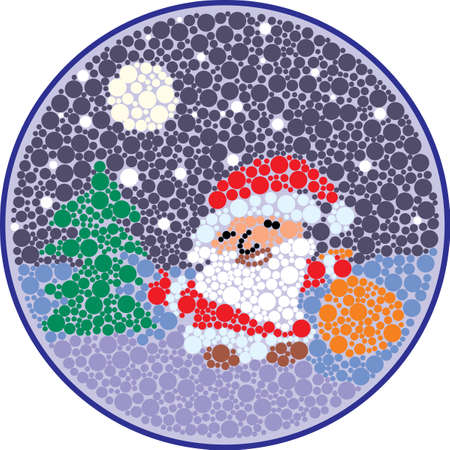 pointillism: Christmas card with Santa Claus style round