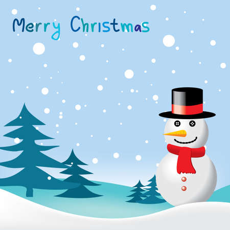 Greeting card with snowman for Christmas & New Year Illustration