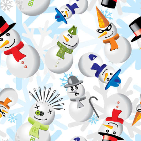 chaplin: Seamless pattern with snowmen in different outfits