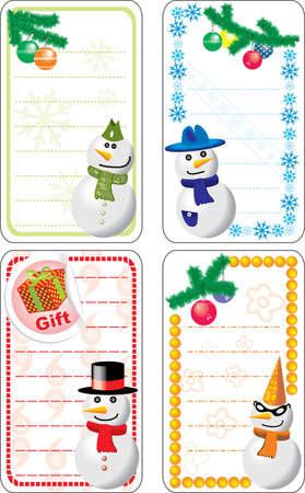 discount coupon: Collection of variable Christmas tags with snowmen