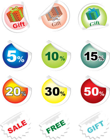 Collection of stickers with discounts and gifts Vector