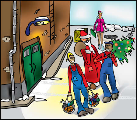 workteam: Santa Claus, Snow White and the workers Illustration