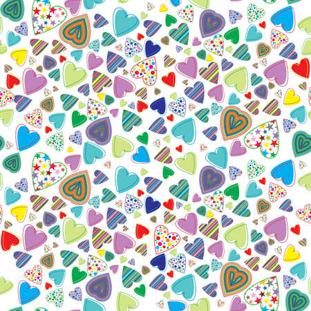 seamless pattern with colored hearts Vector