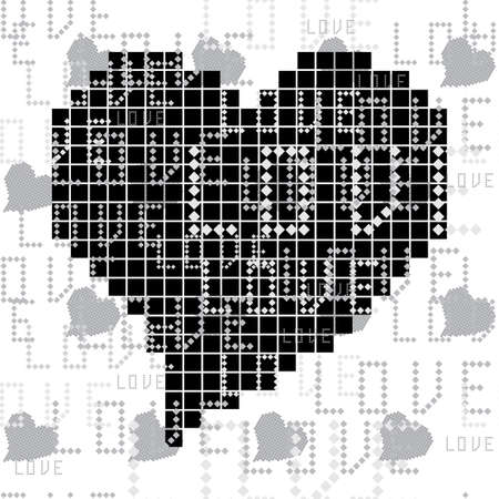 seamless pattern with black and white square of the heart Stock Vector - 11963729