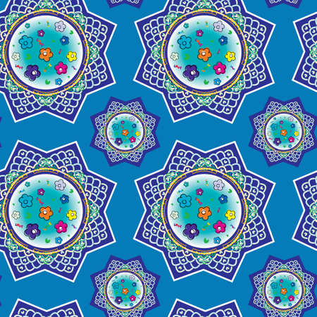 Seamless pattern with oriental ornaments Vector