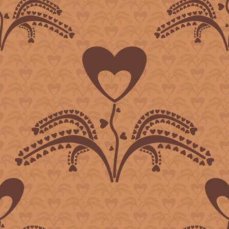 seamless pattern with a plant which grows hearts Vector