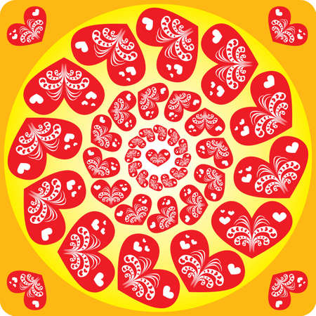 Seamless pattern with hearts in a circle Stock Vector - 12042270