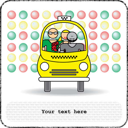 Postcards man and woman in yellow taxi Vector