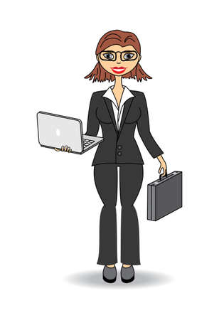 lawyer office: business woman with laptop Illustration