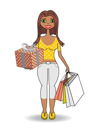 Young african girl with gifts and shopping Vector