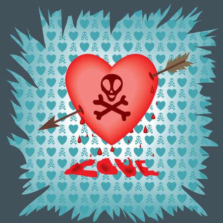 postcard with a heart pierced by an arrow and the skull Stock Vector - 12208377