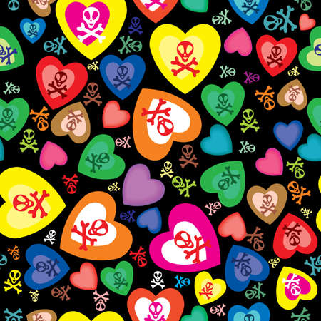 seamless pattern with skulls, bones and hearts Vector
