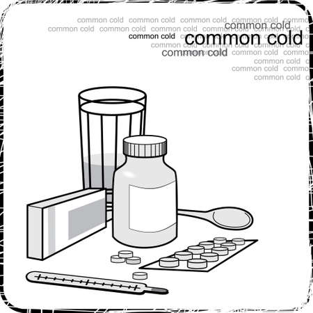 flu prevention: Still life with medicine for the flu and colds