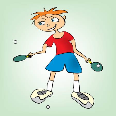 boy plays table tennis Vector