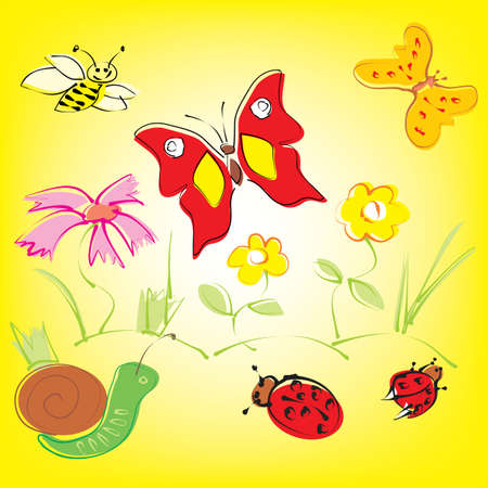 Colorful background with whimsical flowers, butterflies and ladybugs in a cheerful color palette. Vector