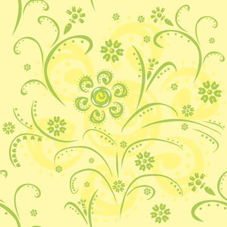 Seamless pattern with green abstract flowers Vector