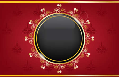golden red box with a black ball Vector