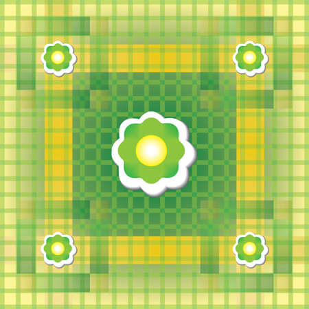 Seamless green and yellow pattern with flower Vector