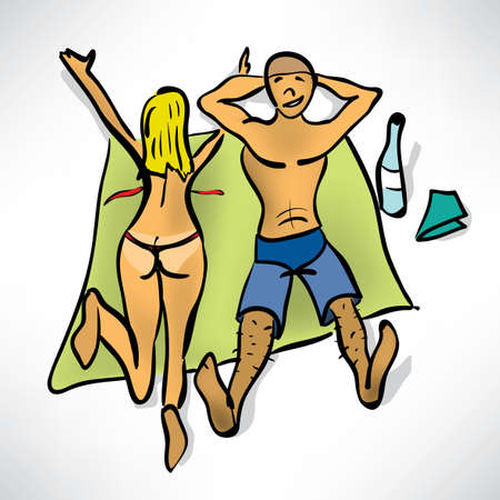 Couple sunbathing on the beach Vector