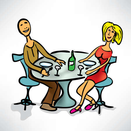 loving couple on a date in a cafe Vector