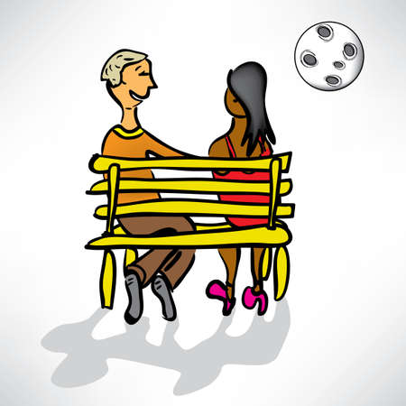 loving couple on a date on a bench in the moonlight Stock Vector - 12982776