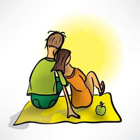 Pareja amorosa en una fecha que se sienta en la playa Foto de archivo - 12982783