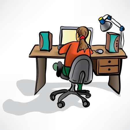 speakers desk: the girl behind the desk