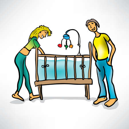 young parents next to the baby s crib Illustration