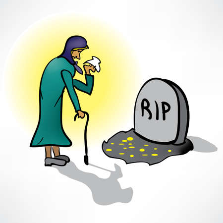 sadness: The old woman cries on the grave