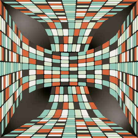 seamless pattern with 3D ribbon consisting of tiles Vector