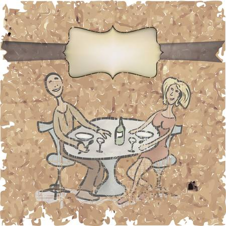 friends eating: vintage postcard of a couple in a cafe