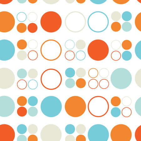Seamless pattern of colored circles and rings
