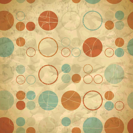 Vintage seamless pattern of colored circles and rings Vector