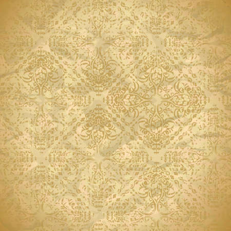 brown: vintage seamless pattern with floral ornaments Illustration