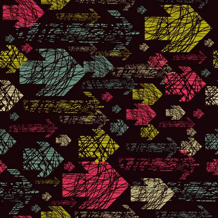 seamless pattern with torn worn with colored arrows Vector