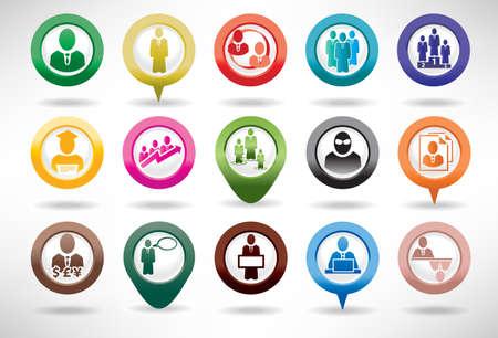 corporate hierarchy: Business Icon Set e gestione Vettoriali